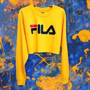 FILA Women's Large Yellow Long Sleeve Crop Top NWT